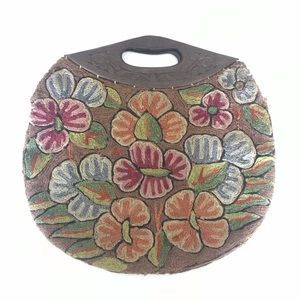 Handbags - Crewel Hand Carved Wood Handle Bag